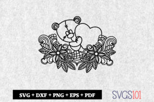 Bear with Love Zentangle Paper Cutting Graphic Crafts By svgs101