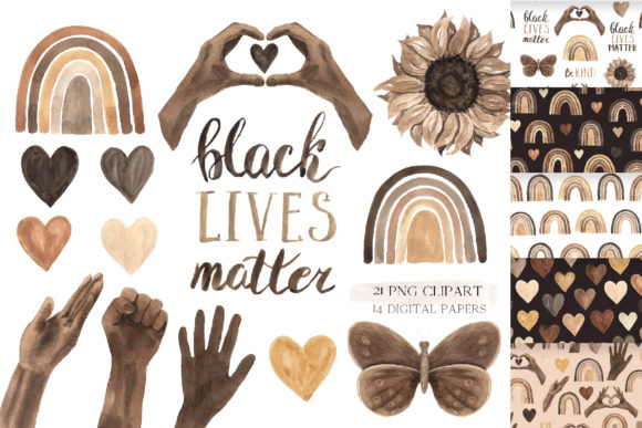 Black Lives Matter - Clipart Set Graphic Illustrations By Larysa Zabrotskaya