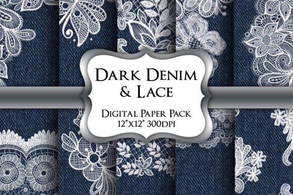 Print on Demand: Dark Denim and Lace Digital Paper Pack Graphic Backgrounds By Party Pixelz