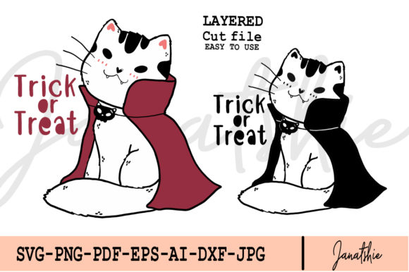 Dracular Vampire Cat Halloween Clip Art Graphic Illustrations By Janatshie