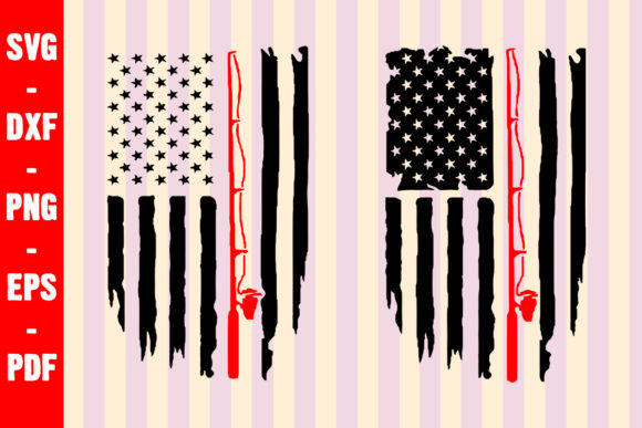 Fishing Distressed American Flag SVG Graphic Crafts By creativeshohor