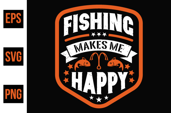 Print on Demand: Fishing Makes Me Happy Graphic Print Templates By ajgortee