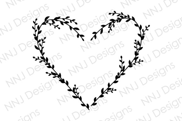 Print on Demand: Floral Heart Leaves Wreath SVG Monogram Graphic Illustrations By NNJ Designs