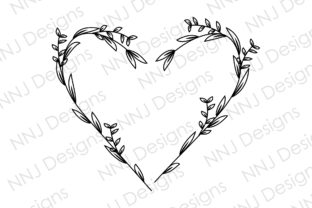 Print on Demand: Floral Heart Wreath Frame Leaves SVG Graphic Illustrations By NNJ Designs