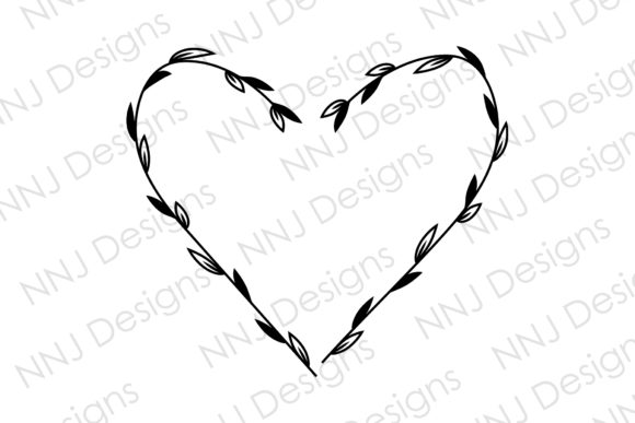 Print on Demand: Floral Heart Wreath Leaves Frame SVG Graphic Illustrations By NNJ Designs