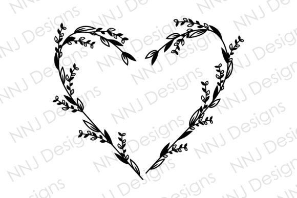 Print on Demand: Floral Heart Wreath SVG Leaf Frame Graphic Illustrations By NNJ Designs