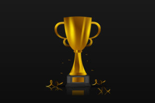 Print on Demand: Golden Trophy with Black Background Graphic Backgrounds By Muhammad Rizky Klinsman