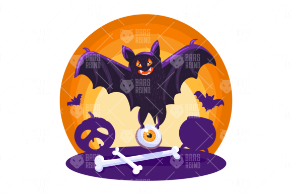 Print on Demand: Halloween Creepy Bat Illustration Graphic Illustrations By barsrsind