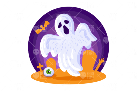 Print on Demand: Halloween Ghost Illustration Graphic Illustrations By barsrsind