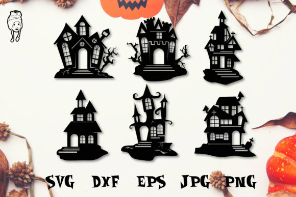 Print on Demand: Halloween House SVG Cut Files Graphic Print Templates By dadan_pm