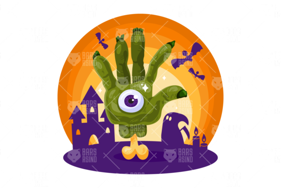 Print on Demand: Halloween Zombie Hand Graphic Illustrations By barsrsind