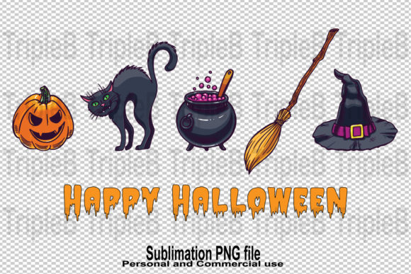 Print on Demand: Happy Halloween Black Cat Sublimation Graphic Crafts By TripleBcraft