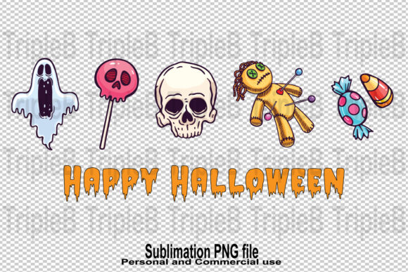 Print on Demand: Happy Halloween Skull Sublimation Design Graphic Crafts By TripleBcraft