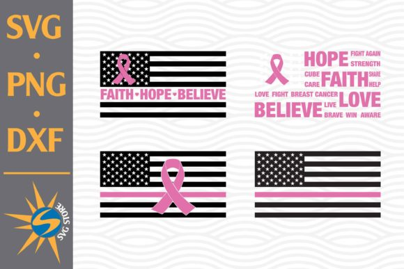 Print on Demand: Ribbon Cancer American Flag Graphic Crafts By SVGStoreShop