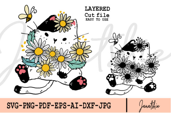 SVG Cat Daisy Flowers and Bee Clip Art Gráfico Ilustraciones Por Janatshie