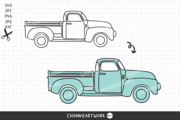 Vintage Truck Graphic Print Templates By Chonnieartwork