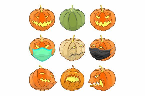Print on Demand: Set of Halloween Pumpkin with Face Mask Graphic Illustrations By Joharium