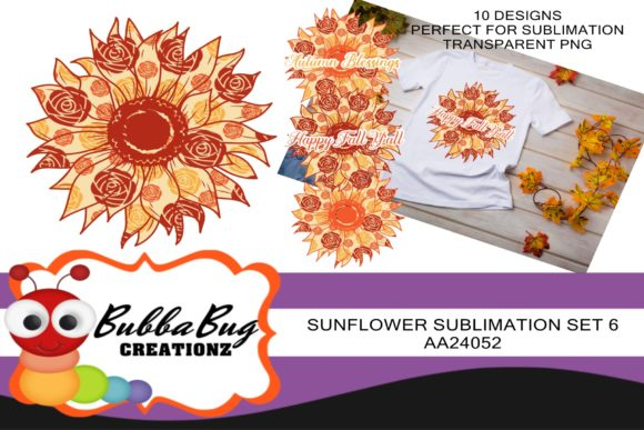 Sunflower Sublimation Set 6 Graphic Crafts By BUBBABUG