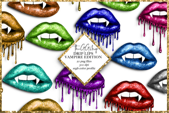 Print on Demand: Vampire Glitter Drip Lips Png Set Graphic Illustrations By TheGGShop