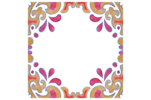 Print on Demand: Watercolor Ornament Frame Border Graphic Crafts By Arief Sapta Adjie