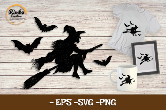 Witch Flying with Bat & Magic Broomstick Graphic Illustrations By Rimbu Creative