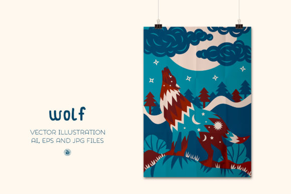 Print on Demand: Wolf - Vector Illustration Graphic Illustrations By webvilla