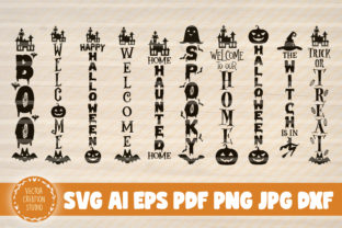 Print on Demand: 10 Halloween Porch Signs Svg Files Gráfico Crafts Por VectorCreationStudio