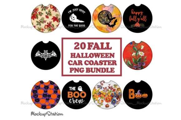 Print on Demand: 20 Fall Halloween Car Coaster PNG Bundle Graphic Objects By Mockup Station