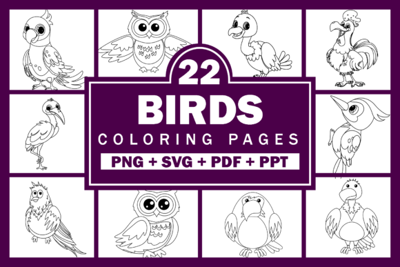 Print on Demand: 22 Birds Coloring Pages Vector + PNG Graphic Coloring Pages & Books Kids By Fayne