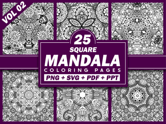 Print on Demand: 25 Square Mandala Coloring Pages | KDP Graphic KDP Interiors By Fayne