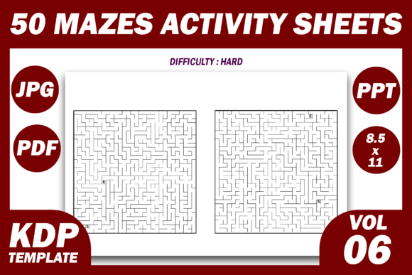 Print on Demand: 50 Maze Puzzles KDP Interior Volume 6 Graphic KDP Interiors By Fayne