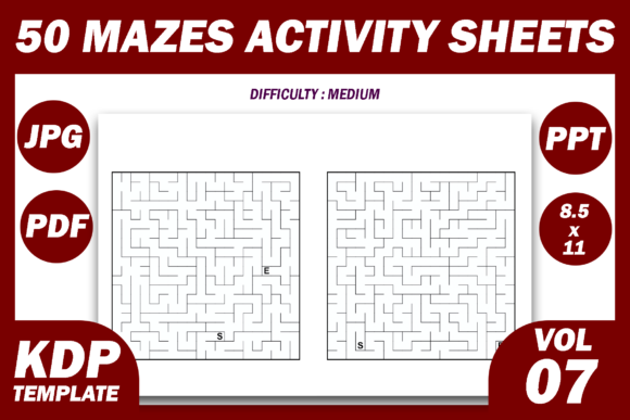 Print on Demand: 50 Maze Puzzles KDP Interior Volume 7 Graphic KDP Interiors By Fayne