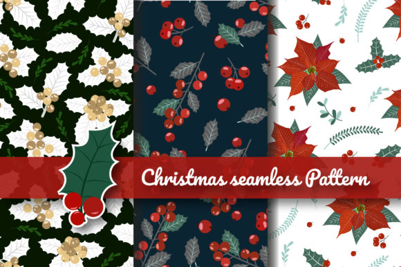 Print on Demand: Christmas Holly Berry Seamless Pattern Graphic Patterns By jannta
