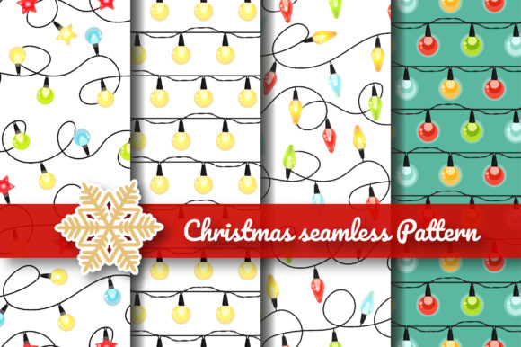 Print on Demand: Christmas Lighting Seamless Pattern Graphic Patterns By jannta