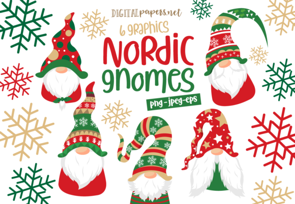 Print on Demand: Christmas Nordic Gnomes Graphic Illustrations By DigitalPapers