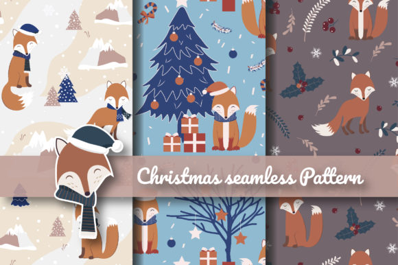 Print on Demand: Christmas Red Fox Seamless Pattern Graphic Patterns By jannta