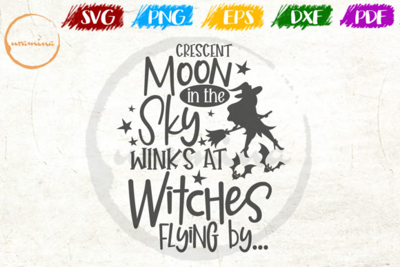 Print on Demand: Crescent Moon in the Sky Wink at Witches Graphic Crafts By Uramina