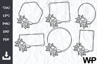 FLORAL FRAMES Svg, Hexagon Frame SVG Graphic Objects By wanchana365
