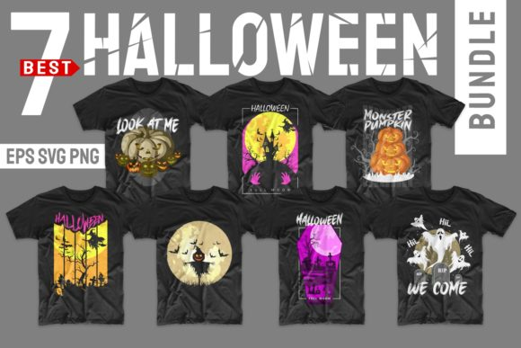 Print on Demand: Halloween Horror T-shirt Designs Bundle Graphic Print Templates By Universtock