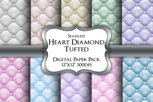 Heart Diamond Tufted Digital Paper Pack Graphic Backgrounds By Party Pixelz
