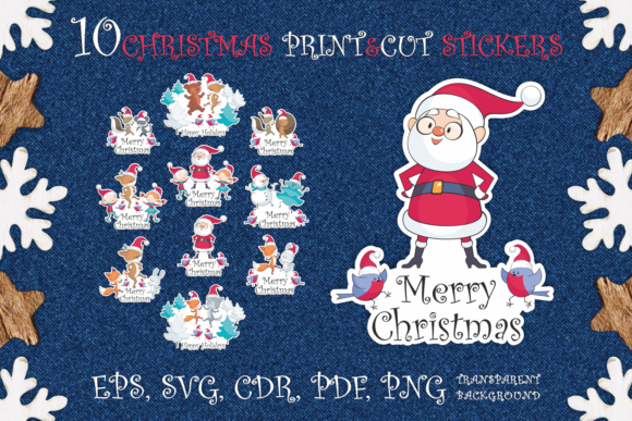 Print on Demand: Merry Christmas. Print and Cut Stickers Graphic Crafts By Olga Belova