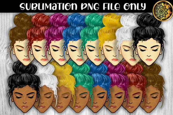 Print on Demand: Multicolor Messy Bun Momlife Sublimation Graphic Crafts By V-Design Creator