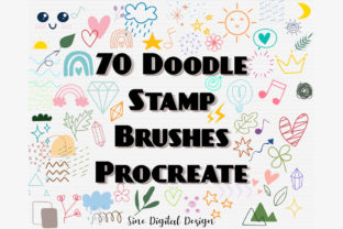 Print on Demand: Procreate Stamps Brushes Cute Doodle Graphic Brushes By SineDigitalDesign