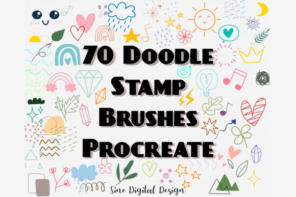 Procreate Stamps Brushes Cute Doodle Graphic Brushes By SineDigitalDesign
