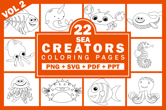 Print on Demand: Sea Animals Coloring Pages Volume 2 Graphic KDP Interiors By Fayne