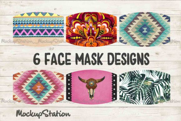 Print on Demand: Southwest Face Mask Designs Bundle Graphic Crafts By Mockup Station