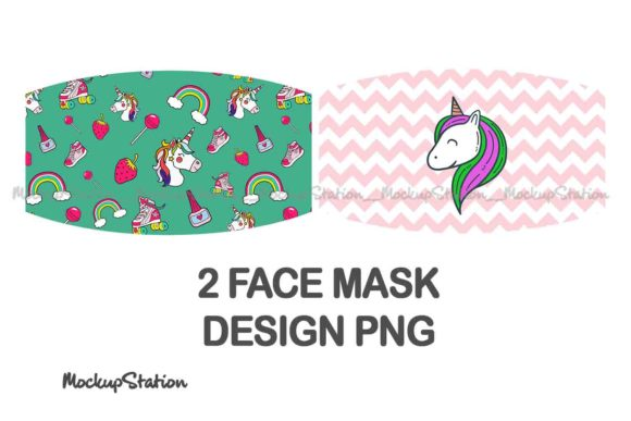 Print on Demand: Unicorn Face Mask Sublimation Design PNG Graphic Crafts By Mockup Station