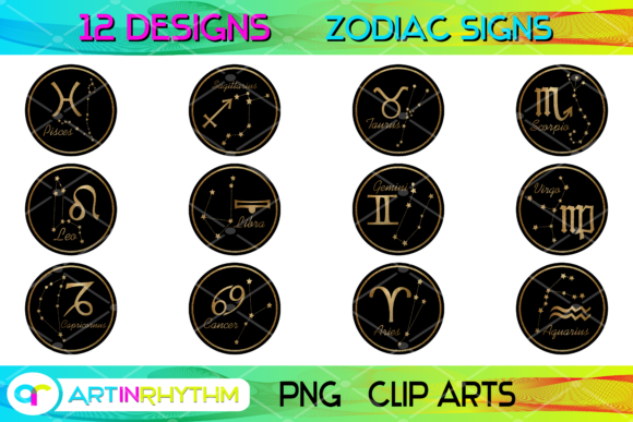 Zodiac Signs Collection - Black and Gold Graphic Crafts By artinrhythm