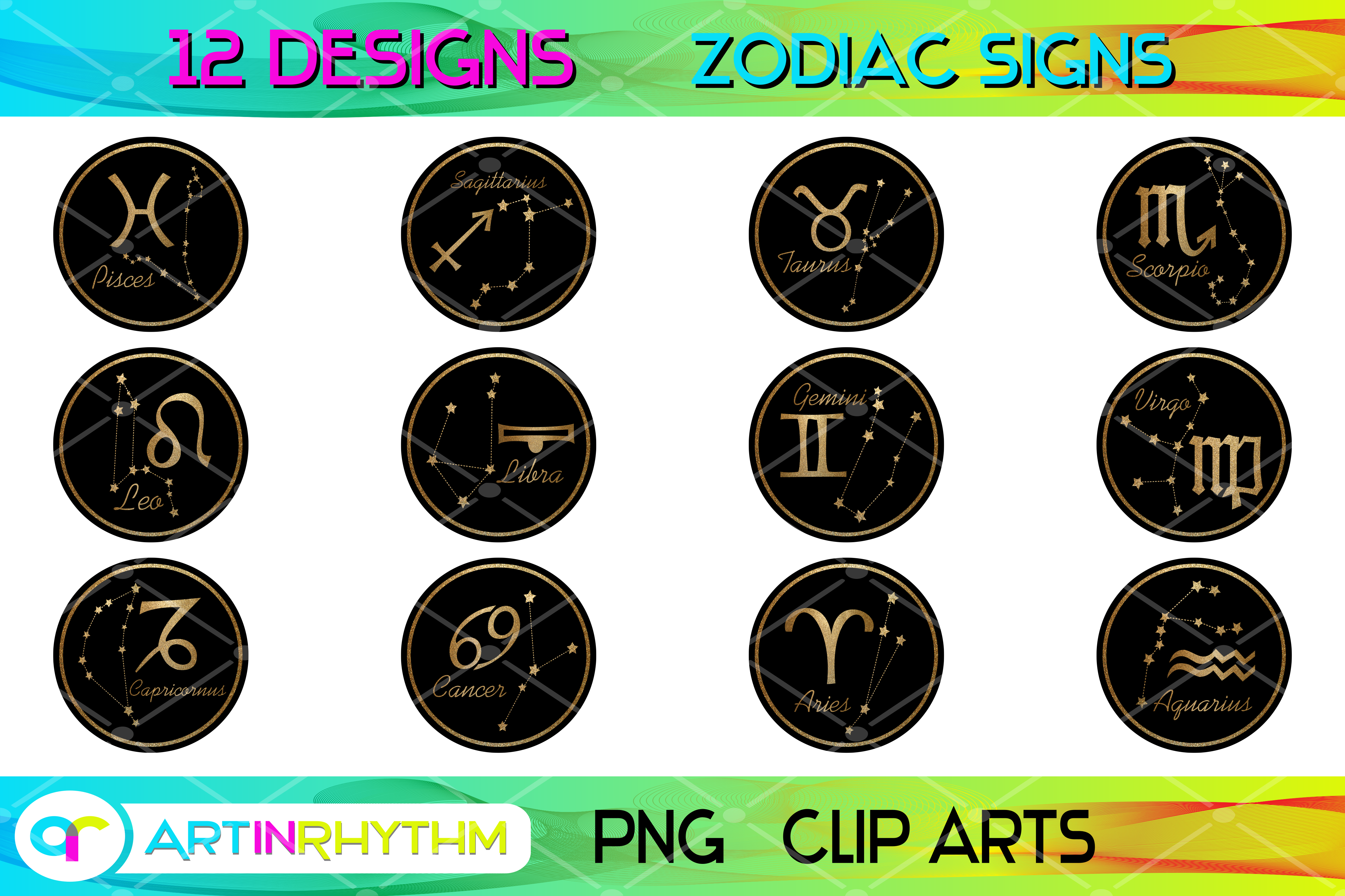 Zodiac Signs Collection - Black and Gold SVG File
