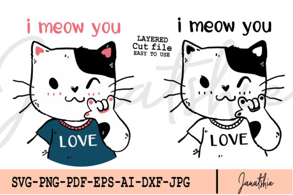 Cute Cat I Meow You Love Hand Gesture Graphic Illustrations By Janatshie